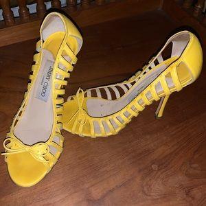 $645 Jimmy Choo Yellow Stiletto High Heels 6.5